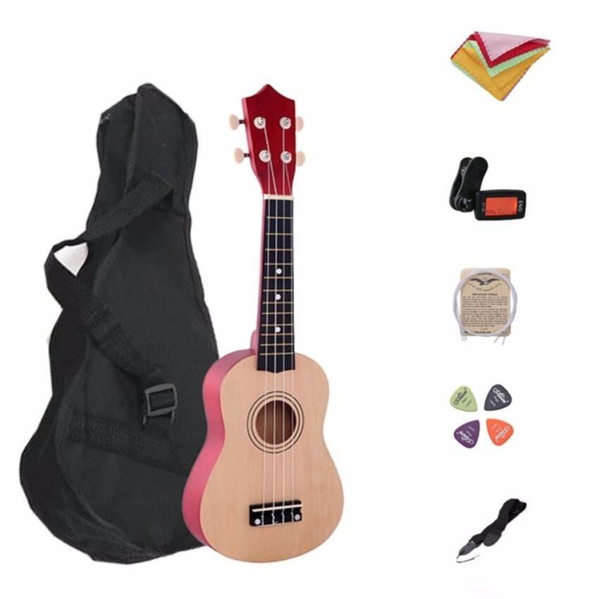 21 Inch Wood Concert Ukulele with Free Bag 7 in 1 Tuner Strap Spare String Wiper Ukulele Pick - intl