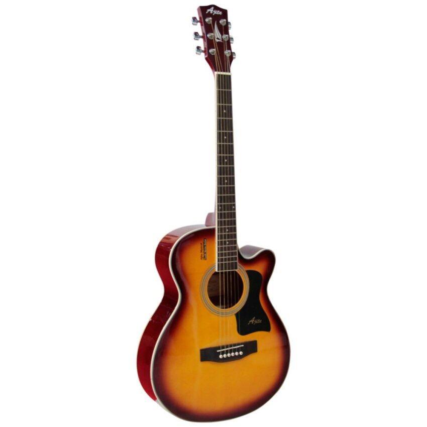 Ajite Guitar กีต้าร์โปร่ง 40 นิ้ว ไม้อย่างดี หน้า Spruce ข้าง-หลัง sapeli รุ่น L405 (สีซันเบิร์ด)