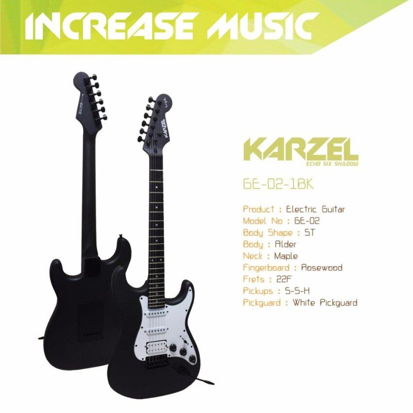Karzel กีต้าร์ไฟฟ้า ทรง ST สีดำ S-S-H GE-02