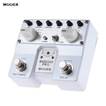 MOOER Reecho Pro Digital Delay Guitar Effect Pedal Twin Footswitch with 6 Delay Effects Loop Recording (20 Seconds) Function - intl