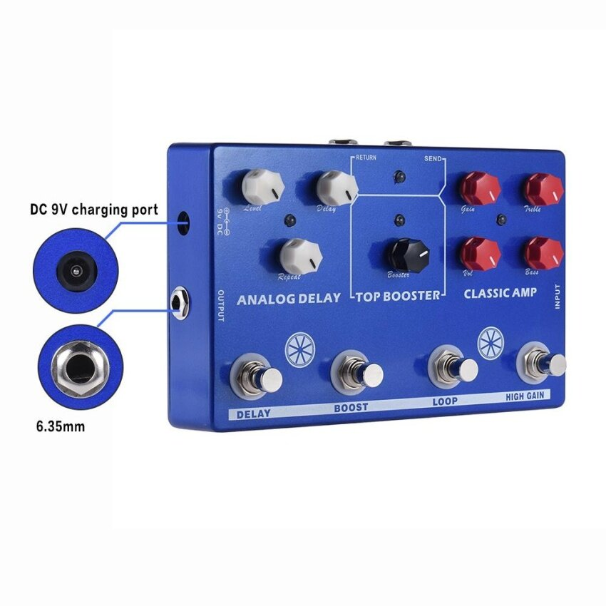 Multi-effects 4-in-1 Guitar TONE MAKESTATON Effect Pedal Processor CLASSIC AMP Booster Analog Delay FX LOOP EQ ^ - intl