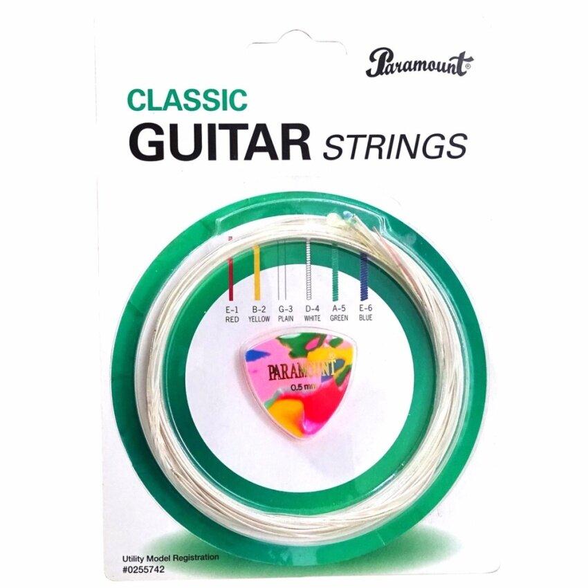 Paramount สายกีตาร์คลาสสิค + ปิ๊กกีตาร์ รุ่น CS-06 (Classical Guitar Strings)