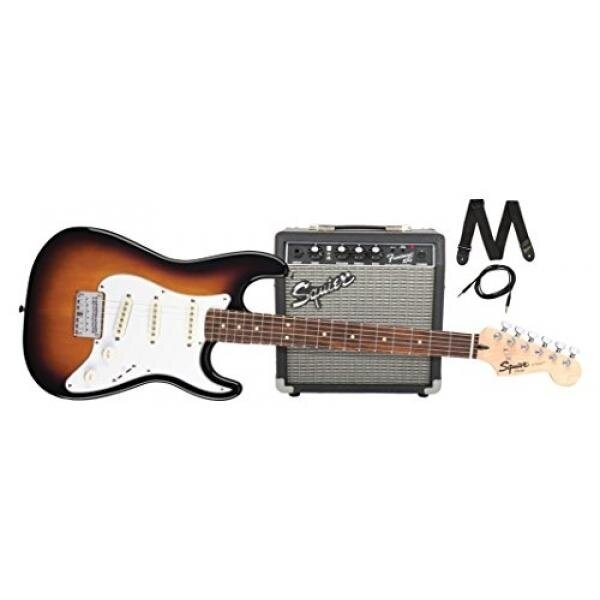 Squier by Fender Stratocaster Short Scale Beginner Electric Guitar Pack with Squier Frontman 10G Amplifier -Brown Sunburst Finish - intl
