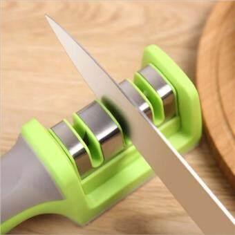 ที่ลับมีด แบบสองความละเอียดพร้อมด้ามจับถนัดมือ 3 ช่อง (สีเขียว)