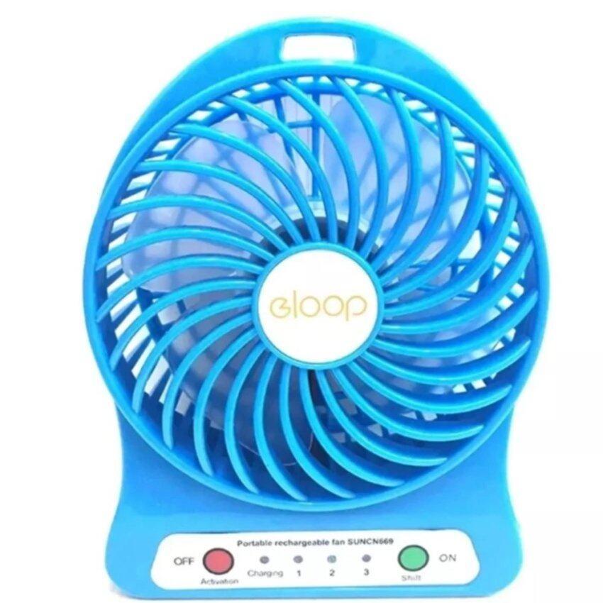 eloop Mini fan พัดลมพกพาขนาดเล็ก ชาร์จสายUSB ใส่ถ่าน ลมแรง (สีฟ้า) ...