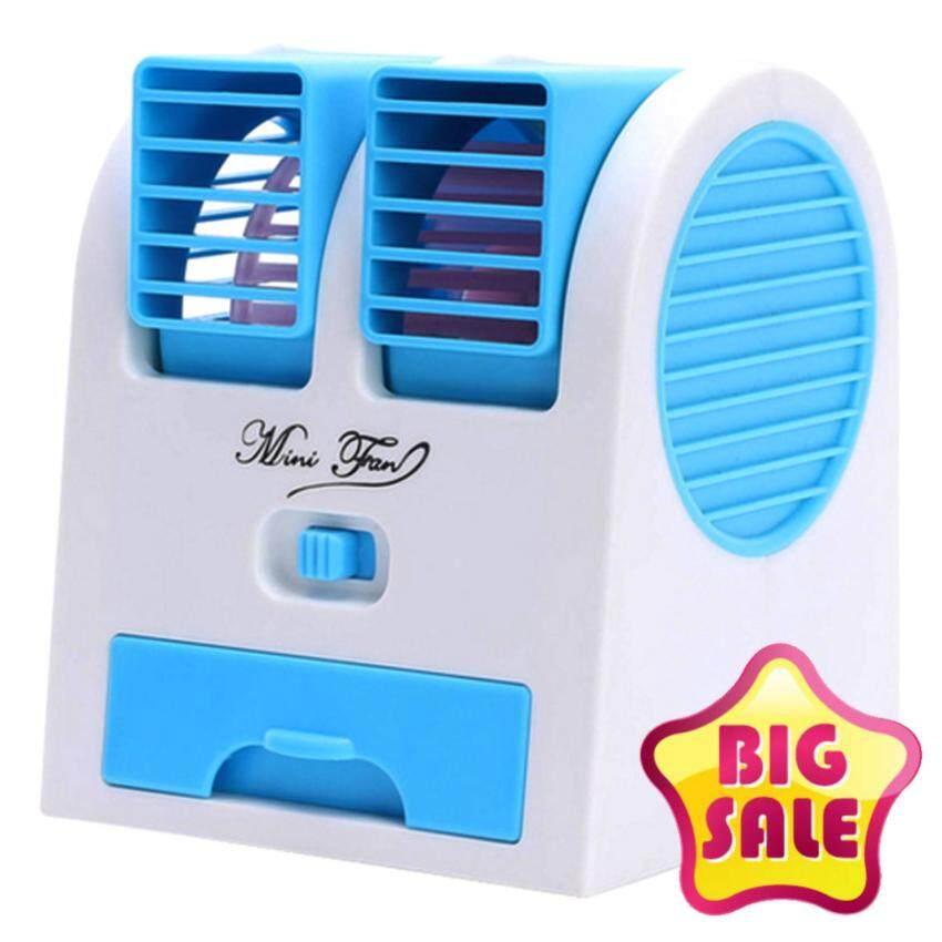 Hot item Mini USB Air Conditioning พัดลมแอร์ปรับอากาศแบบตั้งโต๊ะ - Light Blue