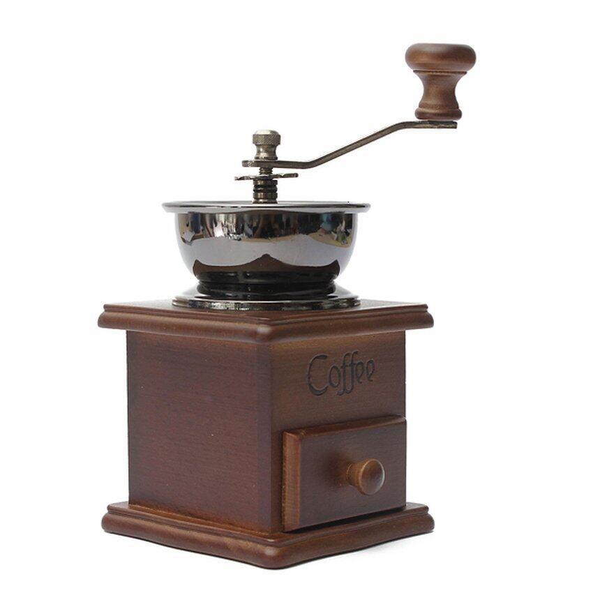 LZ Coffee Bean Nut Spice Herbs Vintage Style Hand Grinder Wooden Millfresh Blender - intl