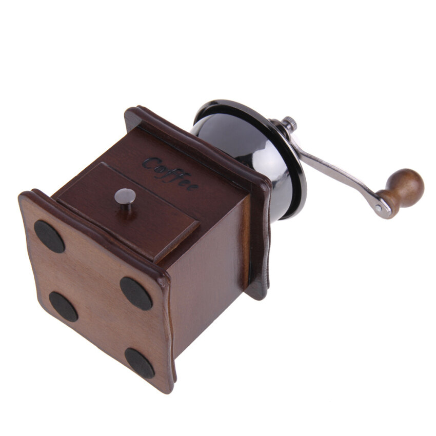 Mini Manual Coffee Mill Wood Stand Bowl Antique Hand Coffee Bean Grinder (Brown)