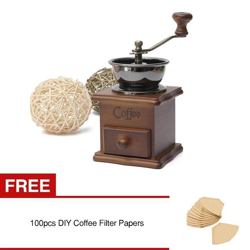 RHS Coffee Bean Nut Spice Herbs Vintage Style Hand Grinder Wooden Retro Burr Mill Buy 1 Get 1 Free 100pcs DIY Coffee Filter Papers - intl