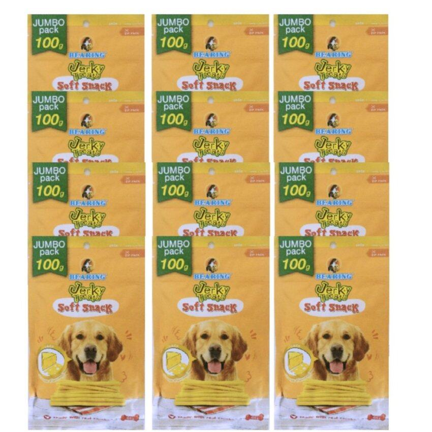 Bearing Jerky Treats Soft Snack for Dog แบร์ร่ิง เจอร์กี้ ทรีทส์ สติ๊ก ขนมสุนัขชนิดแท่ง 100g x 12 Packs รสชีส (8850292591593-12)