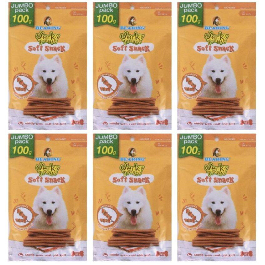 Bearing Jerky Treats Soft Snack for Dog แบร์ร่ิง เจอร์กี้ ทรีทส์ สติ๊ก ขนมสุนัขชนิดแท่ง 100g x 6 Packs รสบาร์บีคิว (8850292591609-6)