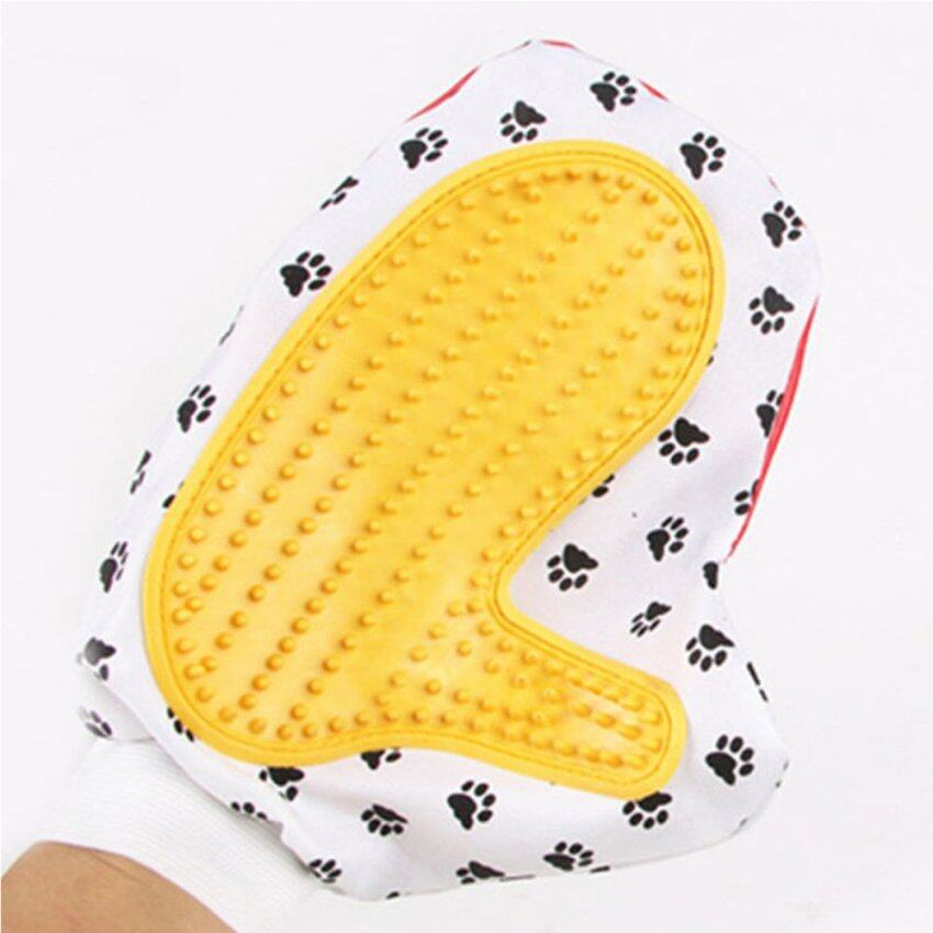 Pet Dog Cat Animal Massage Hair Removal Bath Glove Grooming Cleaning Brush Comb yellow - ...
