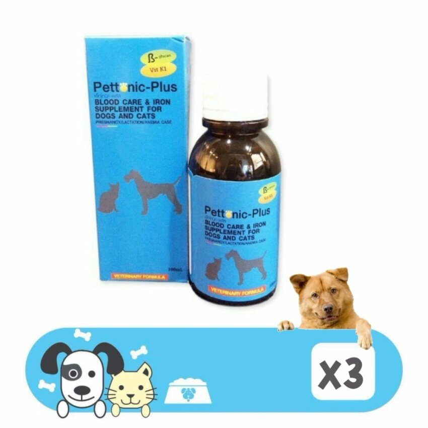 Pettonic-Plus อาหารเสริม ธาตุเหล็ก และวิตามินบำรุงเลือด ของสุนัขและเเมว 100ml 3กล่อง