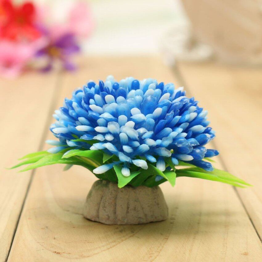 Plastic Fish Tank Aquarium Flowers Grass Decoration Simulation Aquatic Plant Blue - intl ...
