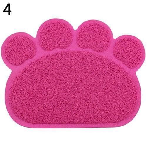 Sanwood 1Pc Cute Paw Shape Dog Cat Clean Placemat Pet Dish Bowl Feeding Food Wipe Mat (4 ...