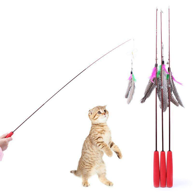 Three Part Da Feather Teaser Wand Cat Toy Refills Go interactive Funny Stick - intl