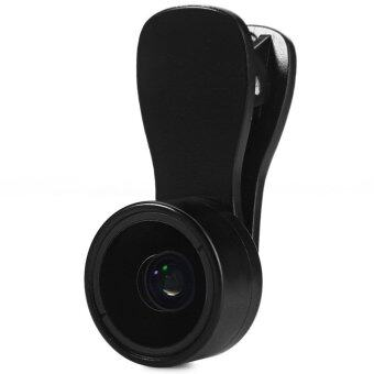 2 in 1 0.36X Super Wide Angle 15X Macro Lens Kit with Clip Lens Caps for iPhone Andriod Lens (Black)