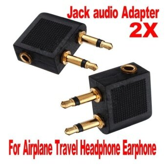 2 pcs Airline Airplane Earphone Headphone Headset Jack AudioAdapter 3.5mm - intl