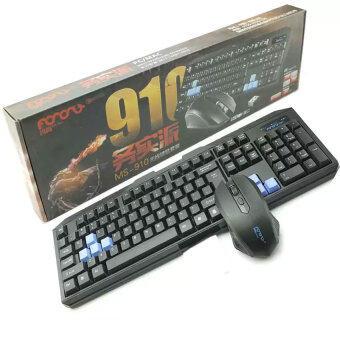 ชุดคอมโบเซ็ท คีย์บอร์ด เมาส์ ไร้สาย 2.4 Ghz 104 Keys MS910 Gaming & Office Use(Black)