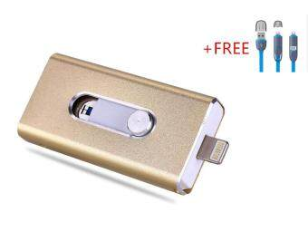 3 in 1 Flash Drive OTG 128GB phone U Disk For Iphone/Iphone 7/Android +Free 2 in 1 usb cable(gold)