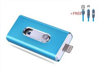 3 in 1 Flash Drive OTG 32GB phone U Disk For Iphone/Iphone 7/Android +Free 2 in 1 usb cable(blue)