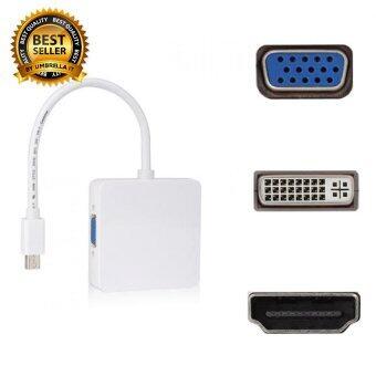 ตัวแปลง 3 in 1 Mini Display Port to VGA/DVI/HDMI Adapter Converter for Apple iMac Mac (White)