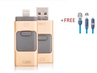 3 in 1 phone OTG 64GB Flash Memory drive For Iphone/Iphone 7 /Android/PC+Free 2 in 1 USB flash cable(gold)