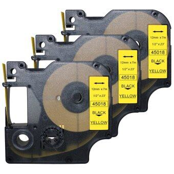 "3 pcs Compatible Dymo Label Maker Tape D1 45018,1/2"" x 23',Black Print on Yellow dymo 45018 - intl"
