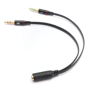 ไมค์แยกสายหูฟังเสียงรองหูโทรศัพท์อะแดปเตอร์ 3.5มม (สีดำ)