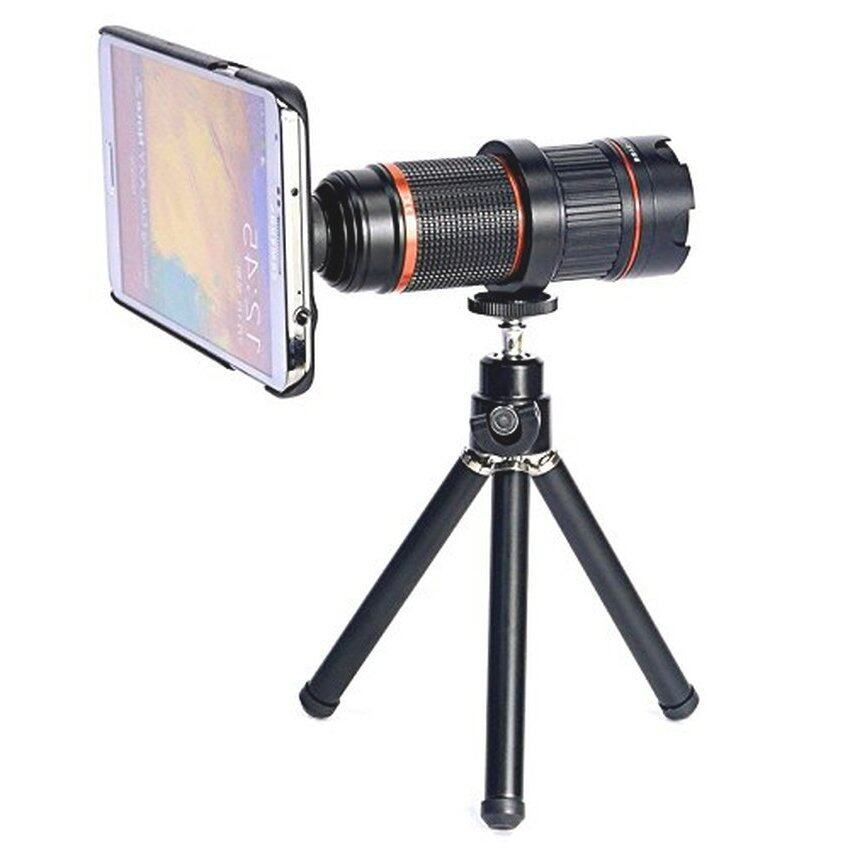 4-12x Zoom Optical Magnification Micro Telephoto Camera Lens Tripod for Samsung Galaxy S5 (Black) - Intl