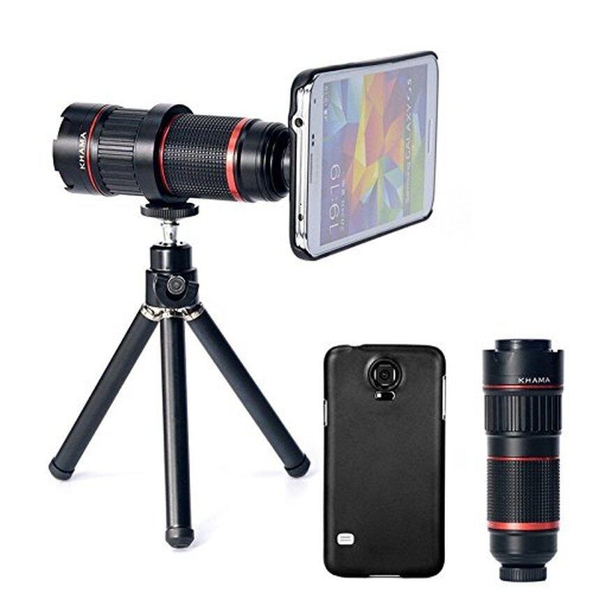 4-12x Zoom Optical Magnification Micro Telephoto Camera Lens Tripod for Samsung Galaxy S5(Black) - Intl