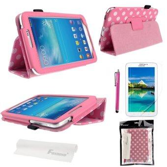 4-in-1 Dots PU Case Screen Guard + Stylus Pen Set for Samsung Galaxy Tab 3 (Pink)