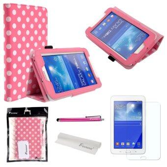 4-in-1 Polka Dots Pattern PU Flip Case Cover for Samsung Galaxy Tab 3 (Pink)