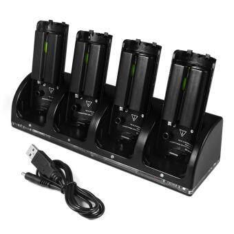 ซื้อ/ขาย 4 Ports Charging Dock with 4 Packs 2800mAh Rechargeable Batteries and LED Light for Nintendo Wii Remote Controller Black(Black)