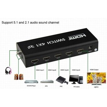 4K HDMI Switcher Switch Selector Splitter 4x1 Audio Output 4 In 1 Out 3D 1080P - intl