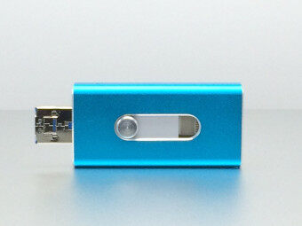 64 GB apple Mobile phone usb flash drive flat twin plug OTG Mobile U disk Android General(Blue)