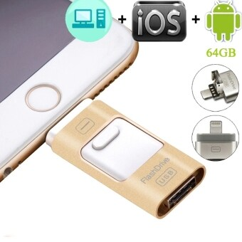 64 GB USB Flash Drive HD Pendrive Lightning data for iPhone6s/6splus/6 for PC/MAC (Gold) - intl