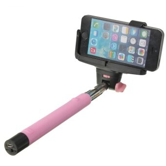 Audew Wireless Shutter Extension Pole Mount Selfie Stick for iPhone 6 Samsung Pink - intl
