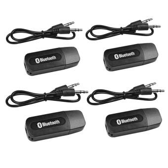 BEST USB Bluetooth Audio Music Wireless Receiver Adapter 3.5mm Stereo Audio (Black) 4PCS