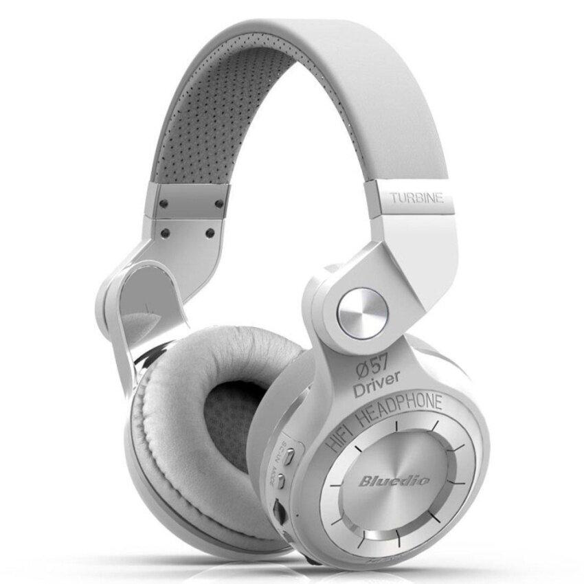 Bluedio T2 Plus Turbine Wireless Bluetooth Headphones with Mic/Micro SD Card Slot/FM Radio (White) - intl