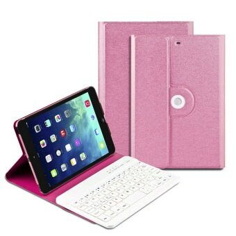 Bluetooth Keyboard Case with 360 Degree Rotation and Multi-angel Stand for iPad Mini 1 2 3 (Pink) - Intl