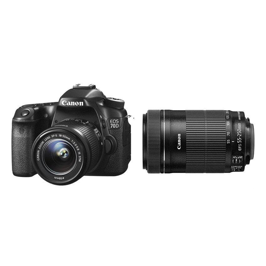 Canon EOS 70D (Black) with 18-55mm STM + 55-250mm IS II Twin Lens Kit ...