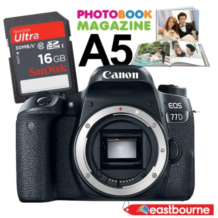 Canon EOS 77D (Body) สีดำ + SD card 16 GB มูลค่า 450 บาท + คูปองโฟโต้แมกกาซีนขนาด A5 มูล ...