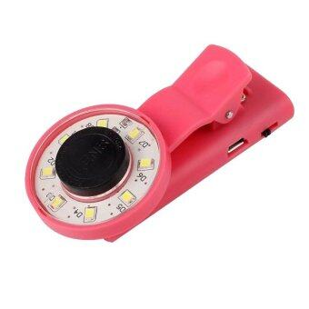 Clip Mini Selfie Fill LED Light Portable Round Ring Flash Wide-angle Lens(pink)