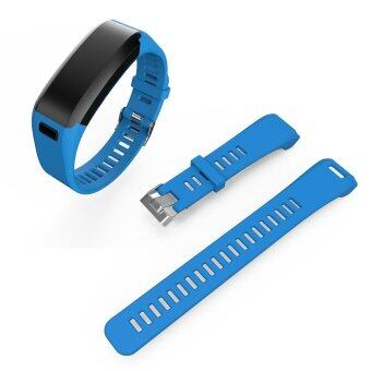 Detachable Silicone Watch Wrist Band for Garmin Vivosmart HR withTool - Dark Blue - intl
