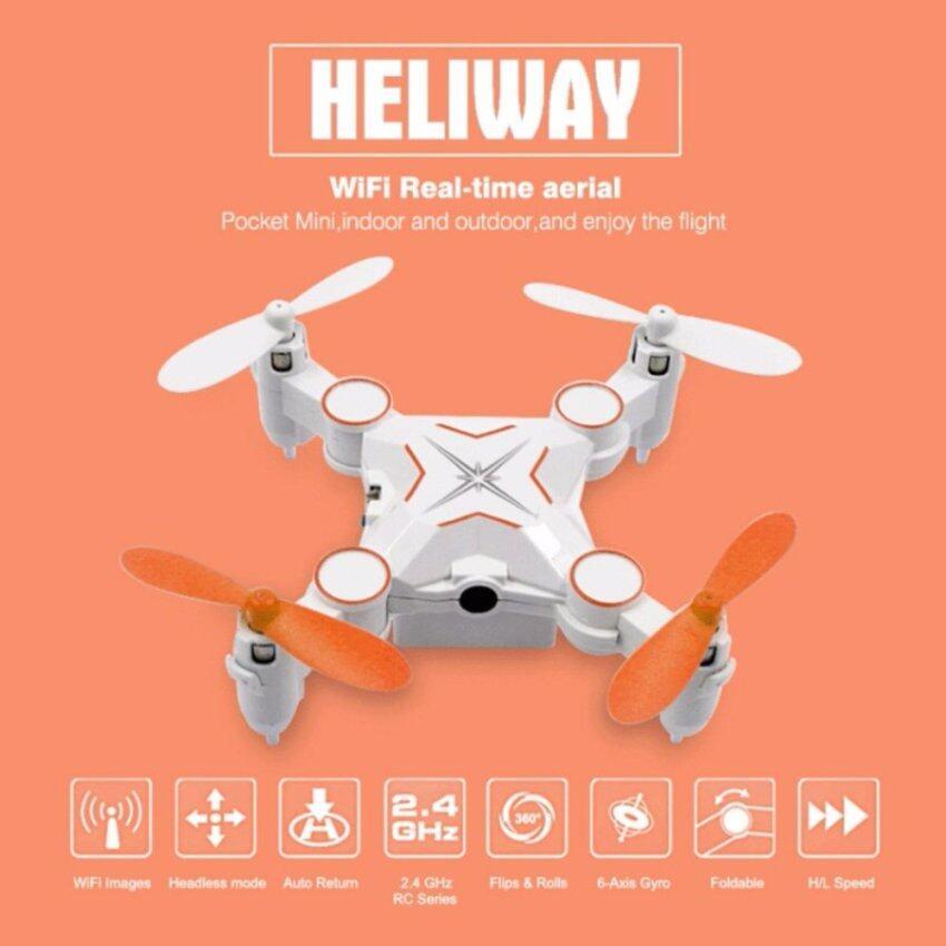 DRONE โดรน จิ๋ว heliway พับขาได้ มีที่เก็บโดรนที่ตัวรีโมท มีกล้อง 720 p เชื่อมต่อมือถือได้ ถ่ายภาพนิ่งและวีดีโอได้ เล่นง่าย สีดำ