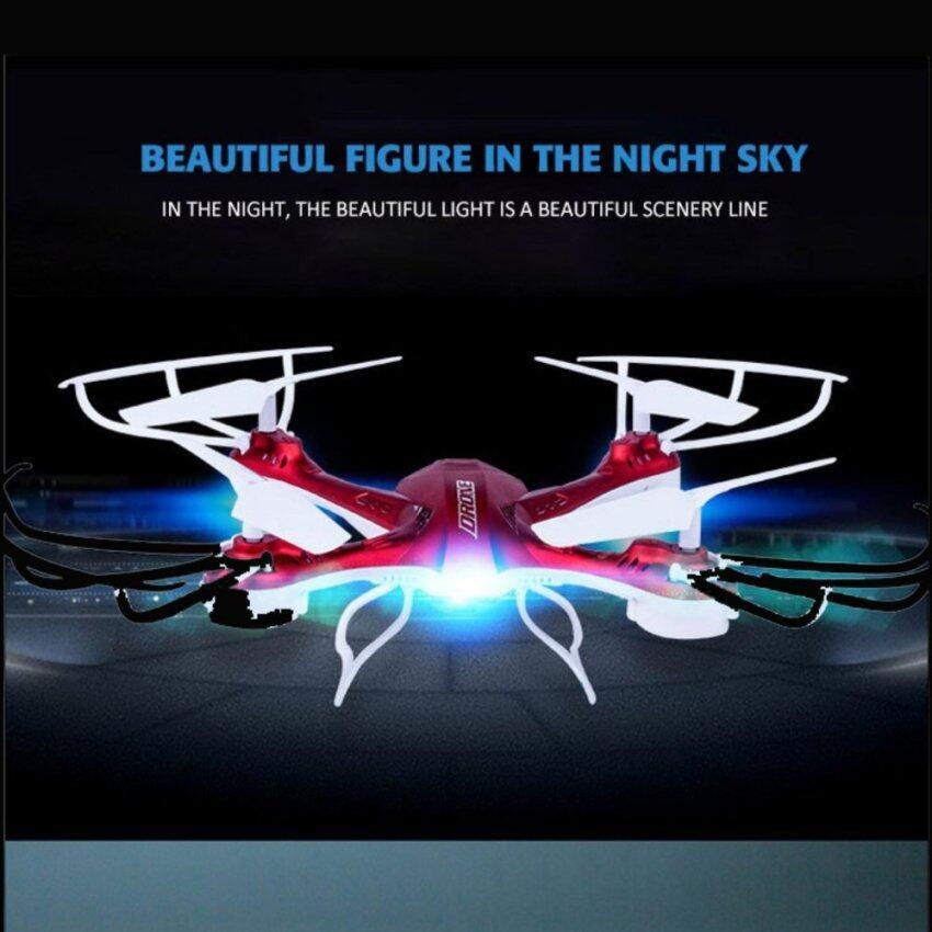 DRONE NEW LED โดรนที่มีระบบบินที่เสถียร นิ่ม บังคับง่าย (มีปุ่มตีลังกา) สีแดง