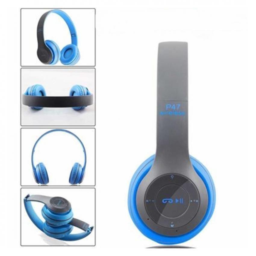 แนะนำDT หูฟังบลูทูธแบบครอบหู รุ่น P47 Wireless (สีฟ้าเทา) ราคาถูก