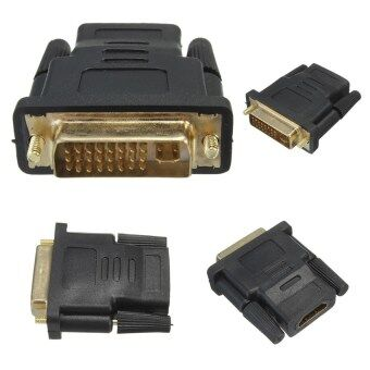 DVI-D Male (24+5 pin) to HDMI Female Adapter Gold Plated (สีดำ/สีทอง)