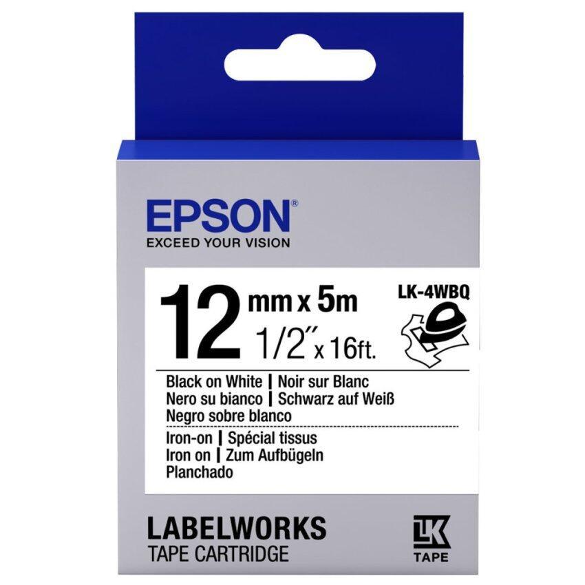 Epson เทปเครื่องพิมพ์ฉลาก Epson LabelWorks LK-4WBQ 12 mm อักษรดำบนพื้นขาว สำหรับรีดติดบนผ้า (5M)